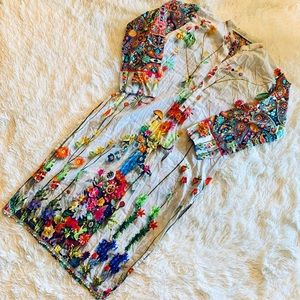 Vtg Homemade 70s Psychedelic Beaded Tunic Size M